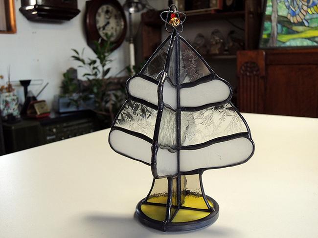 ステンドグラス製クリスマスツリーイエローベース