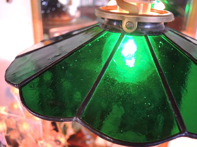ステンドグラス製 レトロ電球傘アンティークグリーン