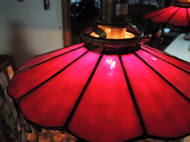 ステンドグラス製 レトロ電傘・アンティークレッド画像