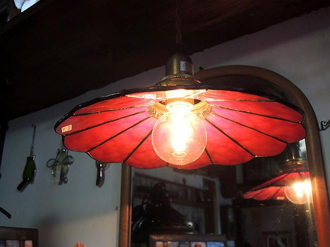 ステンドグラス製 レトロ電傘アンティークレッド