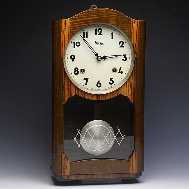 Meiji(明治時計)製 8日巻 レトロ柱時計|ボンボン時計