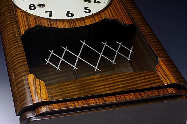 Meiji(明治時計)製 8日巻 レトロ柱時計|ガラスの模様