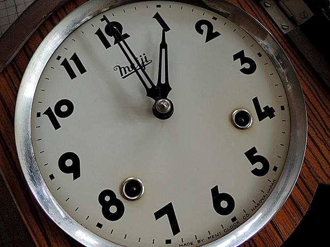 Meiji(明治時計)製 8日巻 レトロ柱時計|レトロな文字盤