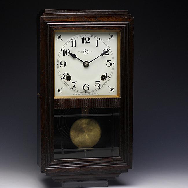 SEIKOSHA(精工舎)製 レトロ柱時計|木目がきれい