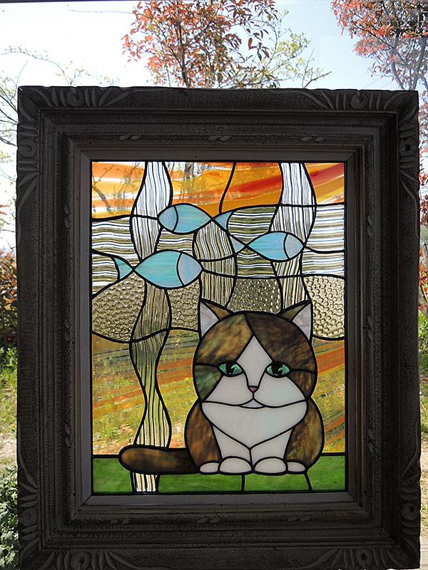 猫のステンドグラス